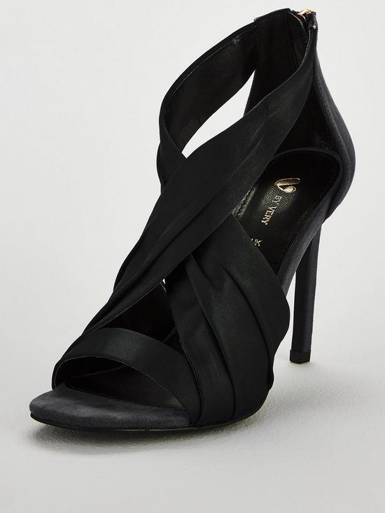 f30a16207cd V by Very Brandy Satin Cross Strap Heeled Sandal - Black