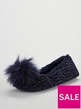 v-by-very-wick-pom-pom-ballerina-slippers-blue