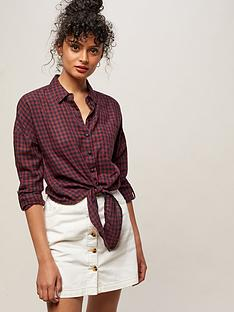 miss-selfridge-mini-check-tied-front-blouse