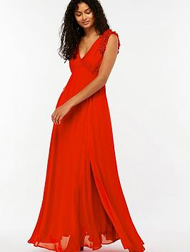 Monsoon Alanis Pleat Maxi Dress - Red