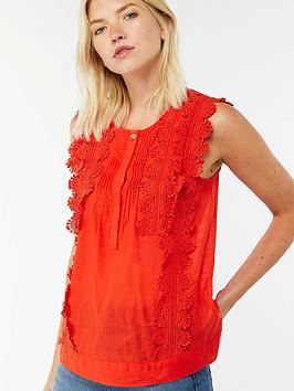 Monsoon Anais Lace Sleeveless Top - Orange