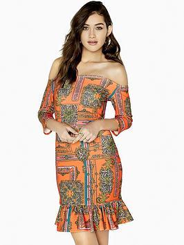 Girls On Film Bardot Chain Print Frill Hem Mini Dress