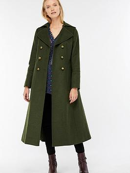 Monsoon Charlotte Longline Military Coat - Dark Green