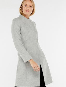 Monsoon Catherine Workwear Funnel Coat - Grey Marl