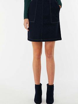Monsoon Carina Contrast Stitch Denim Skirt - Indigo