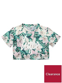 hype-girls-palm-print-crop-t-shirt-multi-coloured