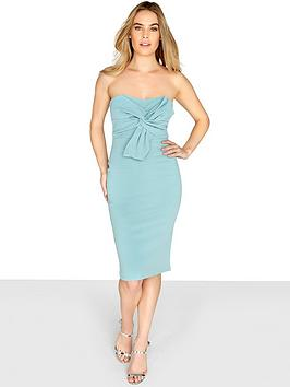 Girls On Film Bow Front Bandeau Bodycon Dress - Sage