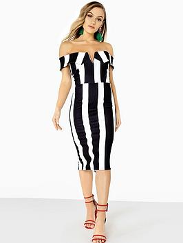 Girls On Film Bardot Bold Stripe Midi Dress - Monochrome