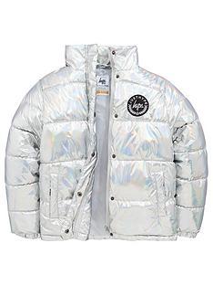 hype-girls-metallic-padded-coat-silver