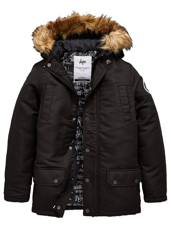 really comfortable get cheap premium selection Boys Faux Fur Hooded Parka Jacket - Black