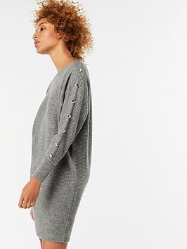 Monsoon Belle Button Detail Dolman Dress - Grey Marl