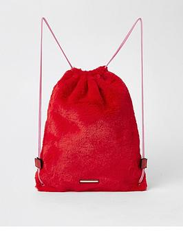 river-island-girls-red-faux-fur-drawstring-backpack