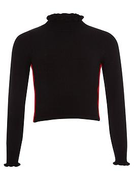 river-island-girls-black-side-stripe-frill-neck-top