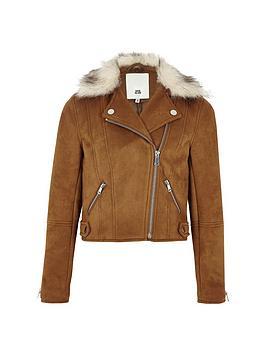 river-island-girls-faux-suede-fur-biker-jacket