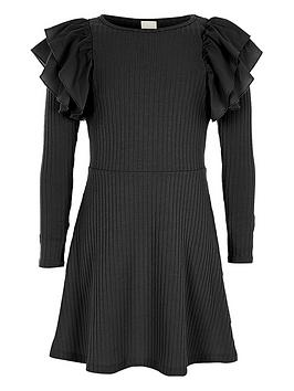 river-island-girls-black-ribbed-frill-midi-dress
