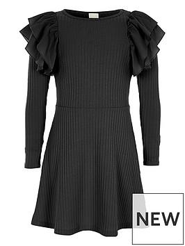 river-island-girls-black-ribbed-frill-midi-dress