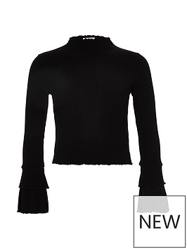 river-island-girls-black-rib-frill-long-sleeve-top