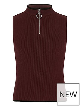 river-island-girls-dark-red-rib-knit-zip-neck-tank-top