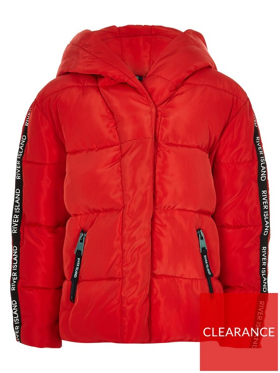 9cac43ba2 River Island Girls red RI tape hooded padded jacket | very.co.uk
