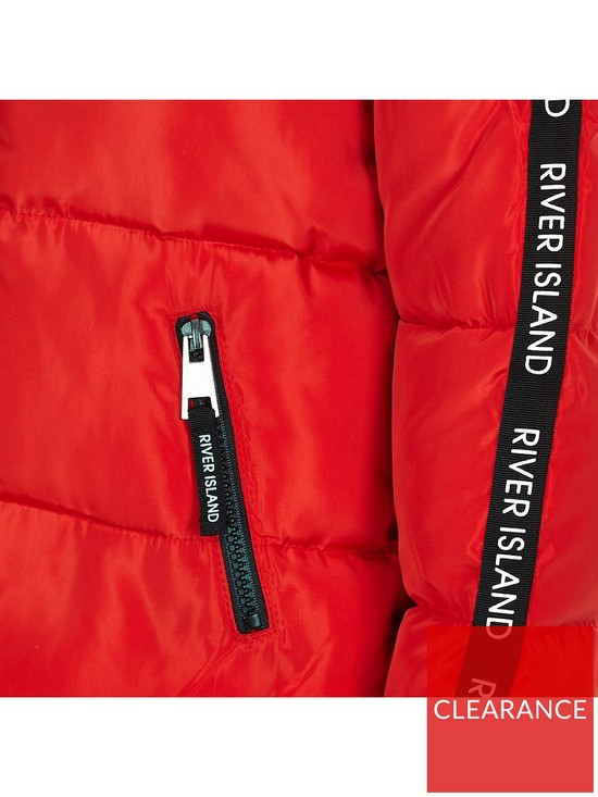 f4c2b2d89 ... River Island Girls red RI tape hooded padded jacket. View larger