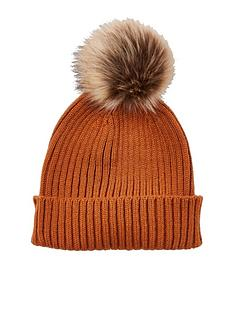 river-island-boys-rust-faux-fur-bobble-beanie-hat