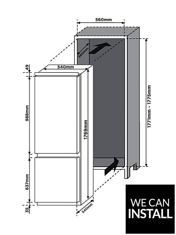 BCBS174TTK 55cm Wide Integrated Fridge Freezer with Optional Installation on