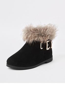 river-island-mini-girls-black-faux-fur-trim-buckle-boots
