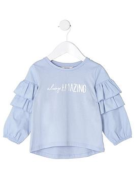 river-island-mini-girls-blue-lsquoalways-amazingrsquo-frill-top