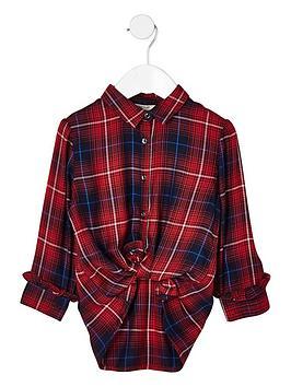 river-island-mini-girls-red-check-longline-shirt