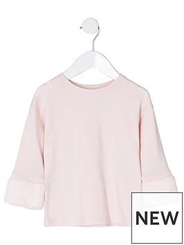 river-island-mini-nbspgirls-light-pink-faux-fur-cuff-top