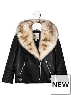 river-island-mini-girls-black-faux-fur-trim-biker-jacket