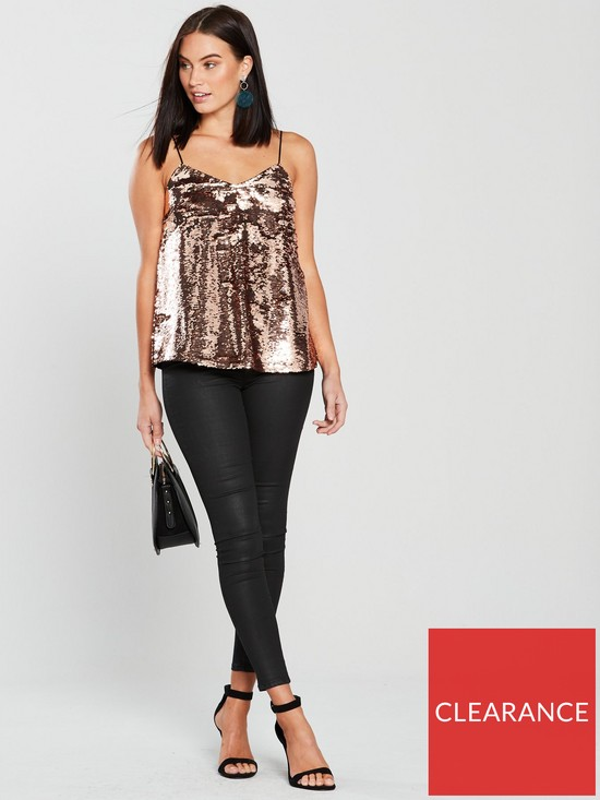95af80f39c0df V by Very Sequin Cami Top - Rose Gold