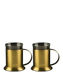la-cafetiere-edited-set-of-2-glass-cups-brushed-gold