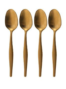 La Cafetiere Edited Set Of 4 Tea Spoons Brushed Gold thumbnail