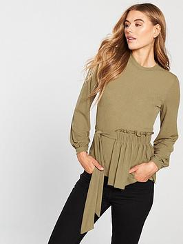 v-by-very-knot-tie-long-sleeve-top-khaki