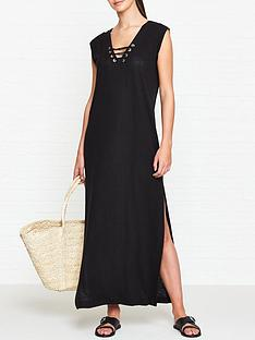 seafolly-lace-up-jersey-maxi-dress-black