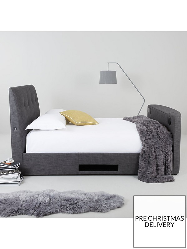 Sensational Avelon Fabric Side Lift Ottoman Storage Tv Bed With Bluetooth Usb Chargers Mattress Options Buy And Save Creativecarmelina Interior Chair Design Creativecarmelinacom
