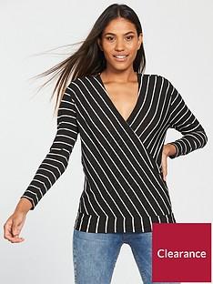v-by-very-wrap-over-stripe-top-blackwhite