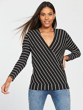 v-by-very-wrap-over-stripe-top-blackwhite