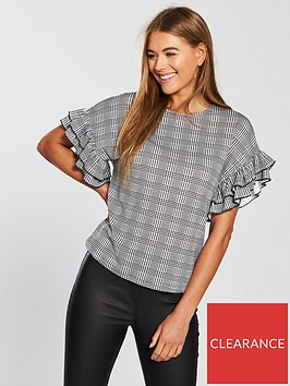 v-by-very-frill-sleeve-check-top