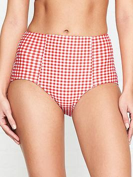 seafolly-capri-check-high-waisted-bikini-bottoms-red