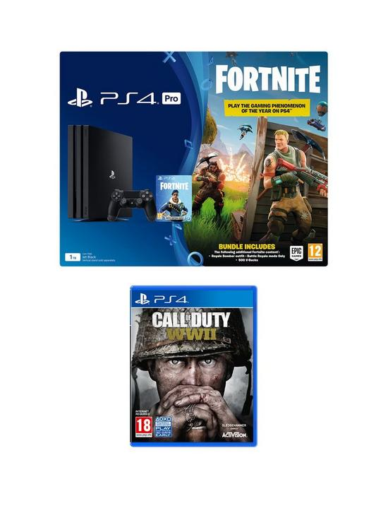bcf9eb37ce39a PlayStation 4 Pro PS4 PRO Black Console with Fortnite Royal Bomber Skin and  500 V Bucks with Call of Duty WWII plus optional extras