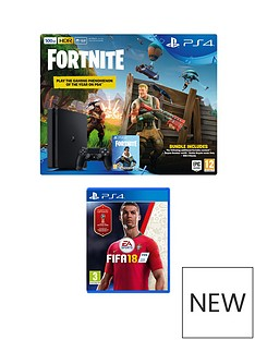 playstation-4-500gbnbspblack-console-with-fifanbsp18-fortnite-royal-bomber-skin-and-500-v-bucksnbspplus-optional-extra-controller-andor-12-months-playstation-network