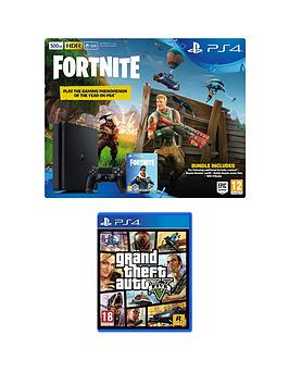 playstation-4-ps4-500gb-black-console-with-fortnite-royal-bomber-skin-and-500-v-bucks-with-grand-theft-auto-5-gta-v-plus-optional-extra-controller-andor-365-day-psn-subscription