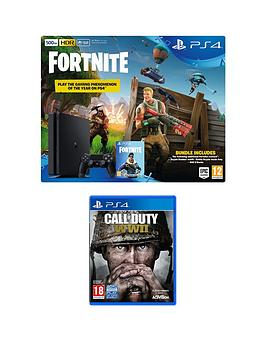 playstation-4-ps4-500gb-black-console-with-fortnite-royal-bomber-skin-and-500-v-bucks-with-call-of-duty-wwii-plus-optional-extra-controller-andor-365-day-psn-subscription