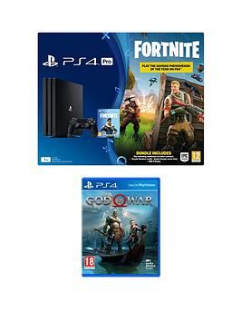 playstation-4-pro-ps4-pro-black-console-with-fortnite-royal-bomber-skin-and-500-v-bucks-with-god-of-war-plus-optional-extras