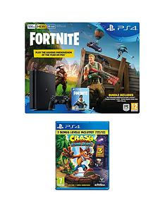 playstation-4-ps4-500gb-black-console-with-fortnite-royal-bomber-skin-and-500-v-bucks-with-crash-bandicoot-n-sane-trilogy-plus-optional-extra-controller-andor-365-day-psn-subscription