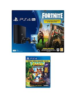 playstation-4-pro-fortnite-royal-bomber-skin-1tb-black-console-with-500-v-bucks-crash-bandicoot-n-sane-trilogynbspand-optional-extras