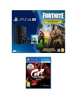 playstation-4-pro-ps4-pro-black-console-with-fortnite-royal-bomber-skin-and-500-v-bucks-with-gran-turismo-sport-plus-optional-extras