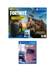 playstation-4-ps4-500gb-black-console-with-fortnite-royal-bomber-skin-and-500-v-bucks-with-detroit-become-human-plus-optional-extra-controller-andor-365-day-psn-subscription
